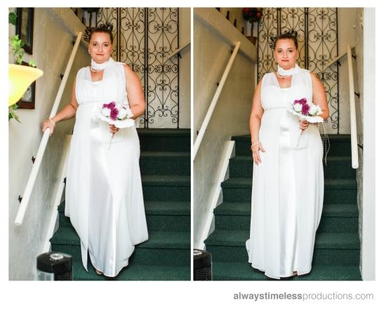 bride on stair